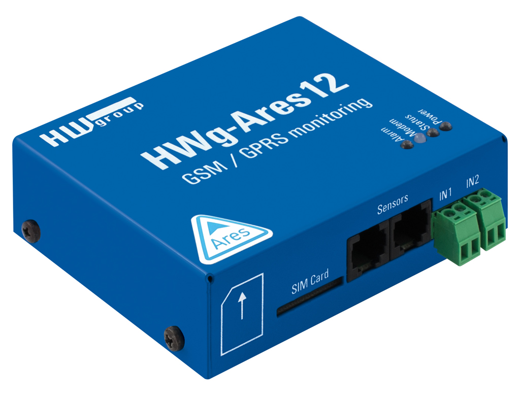 HW group Ares 12: Industrial GSM measurement and remote monitoring for 14 sensors