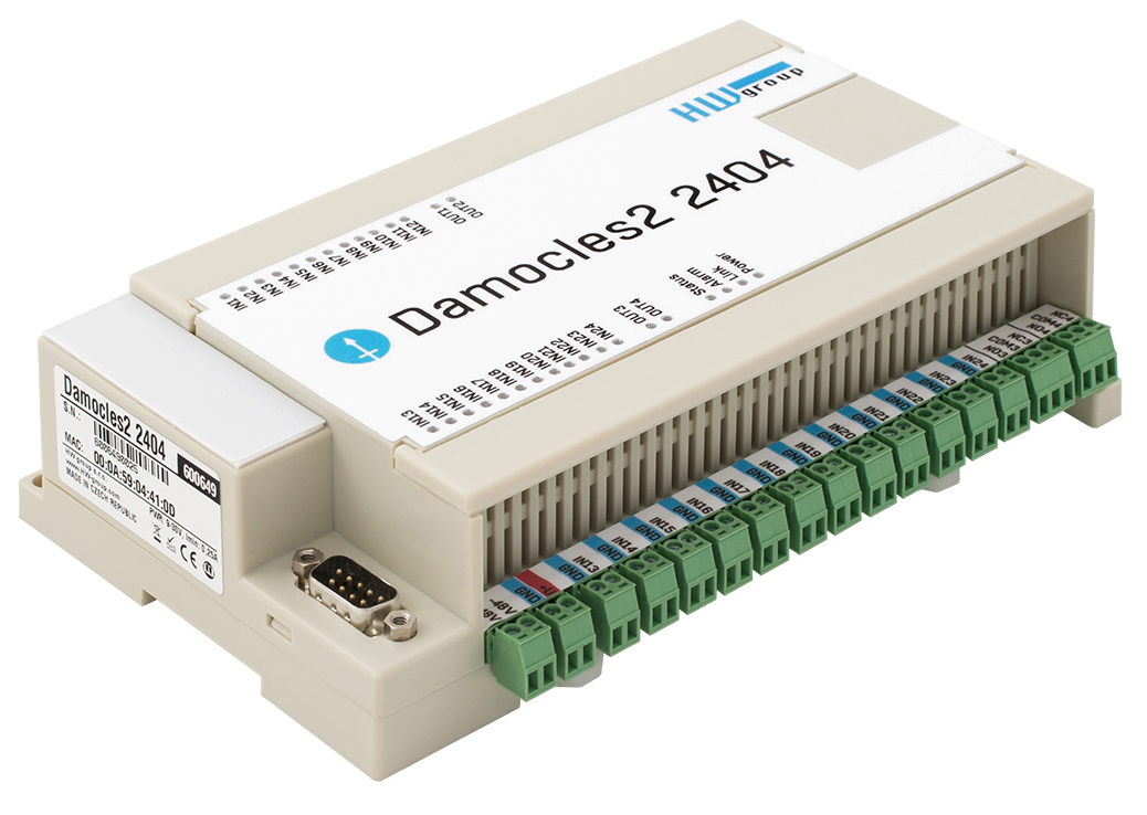 HW group Damocles2 2404: Networked remote I/O with secure SNMP v3 and IPv6